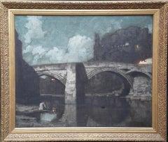 Alcantara Bridge Toledo - British Victorian art Spanish landscape oil painting