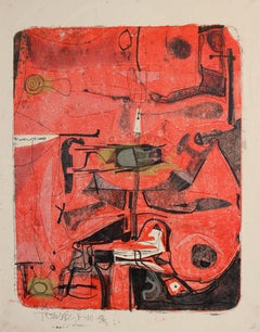 Untitled Red and Black, abstract monoprint (Single Autographic Print)