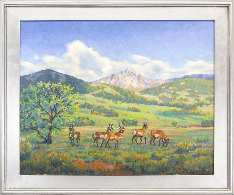 """Harold Vincent Skene Landscape Painting - """"Antelope"""" Colorado Mountain Landscape Original Vintage Signed Oil Painting"""
