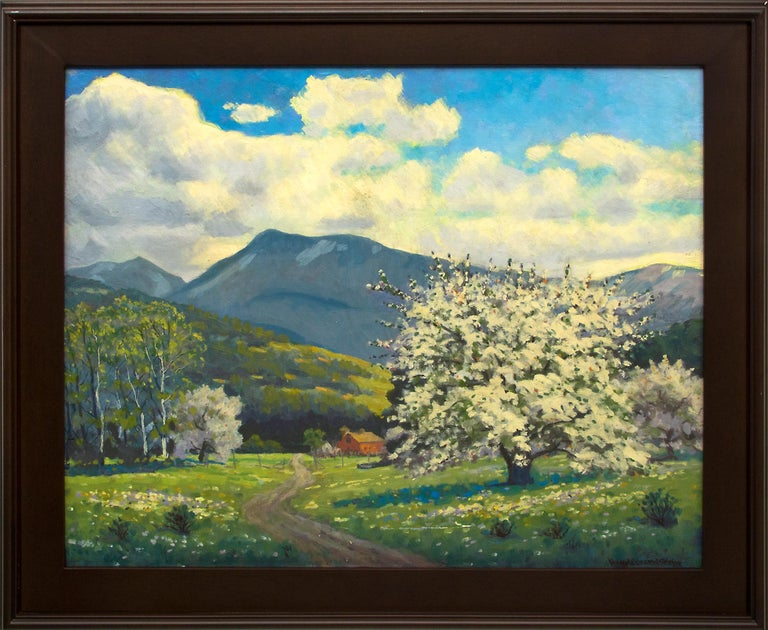 Apple Tree (Colorado Mountain Landscape, Blossoms, Spring on the Western Slope) - American Impressionist Painting by Harold Vincent Skene