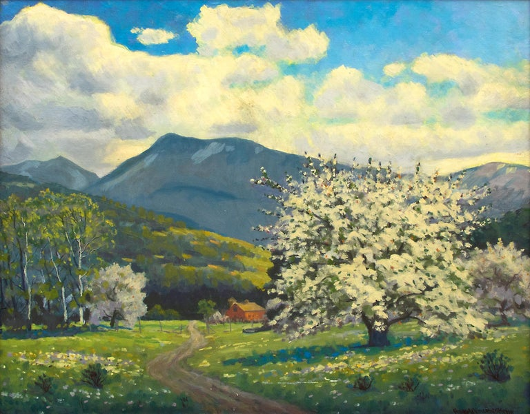 Apple Tree (Colorado Mountain Landscape, Blossoms, Spring on the Western Slope) - Painting by Harold Vincent Skene