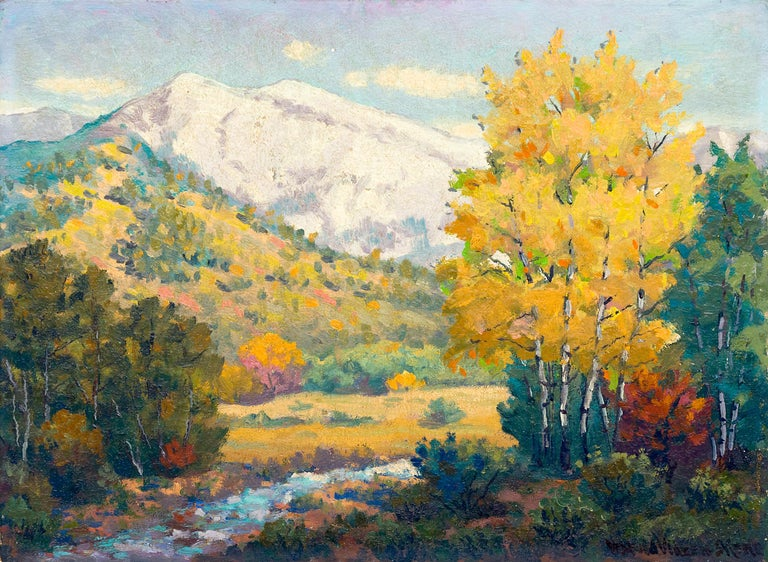 Vintage mountain landscape painting of Blanca Peak covered in snow with a creek and trees with autumn/fall coloring by Harold Skene (1883-1978). Blanca is part of the Sangre de Cristo range of the Rocky Mountains located near Alamosa in southern
