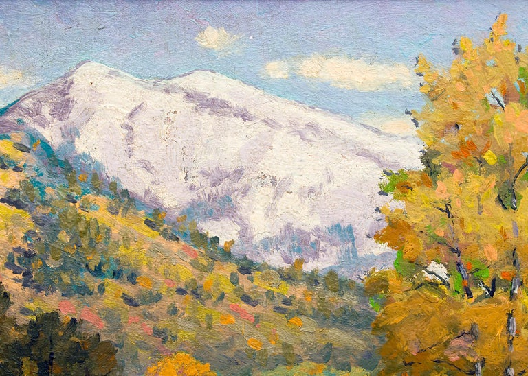 Blanca (Colorado Mountain Landscape Painting - Snow, Creek and Autumn Coloring) For Sale 2