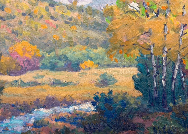 Blanca (Colorado Mountain Landscape Painting - Snow, Creek and Autumn Coloring) For Sale 3