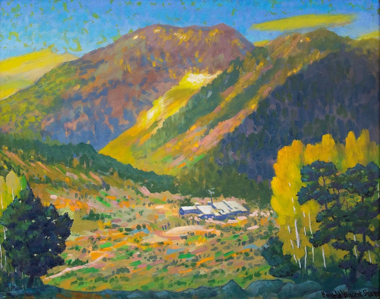 Camp Bird Mine, Ouray, Colorado, Mountain Landscape in Green, Yellow, Blue - Painting by Harold Vincent Skene