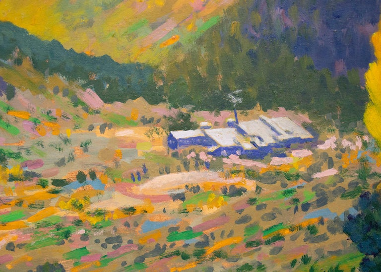 Camp Bird Mine, Ouray, Colorado, Mountain Landscape in Green, Yellow, Blue - Brown Figurative Painting by Harold Vincent Skene