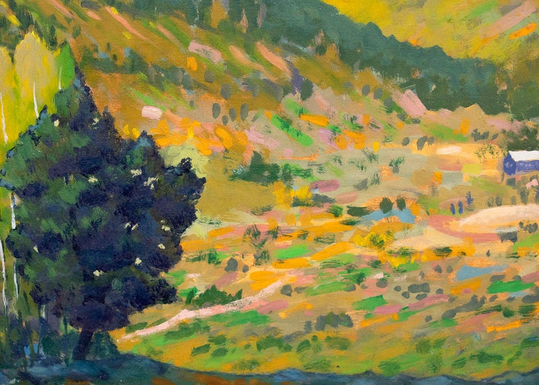Vintage Colorado mountain landscape painting of Camp Bird Mine in Ouray, Colorado (near Telluride).  Early autumn coloring with green, golden yellow, orange, blue, purple and white. Oil on board, signed lower right. Presented in a custom gold frame,