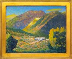 Camp Bird Mine, Ouray, Colorado, Mountain Landscape in Green, Yellow, Blue