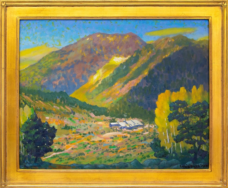 Harold Vincent Skene Figurative Painting - Camp Bird Mine, Ouray, Colorado, Mountain Landscape in Green, Yellow, Blue