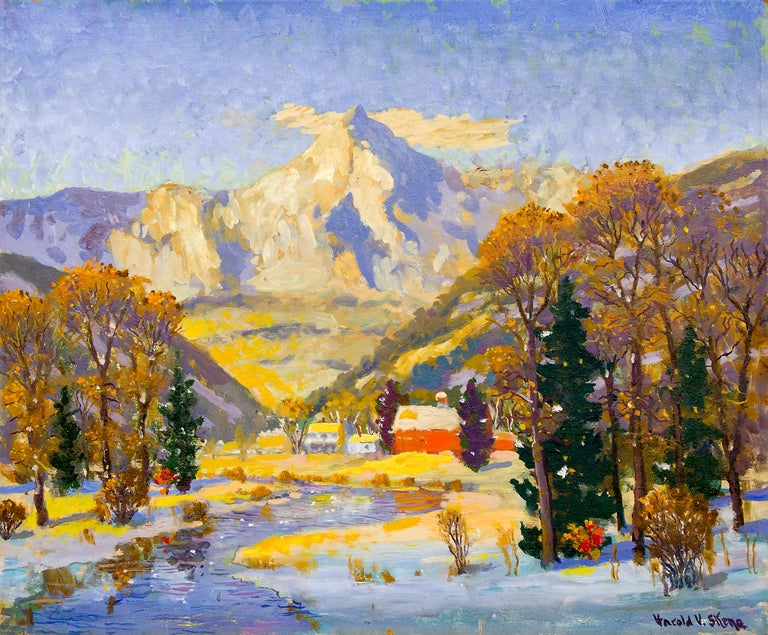 Colorado Winter (Snowy Mountain Landscape with a Creek and Ranch House & Barn) - Painting by Harold Vincent Skene