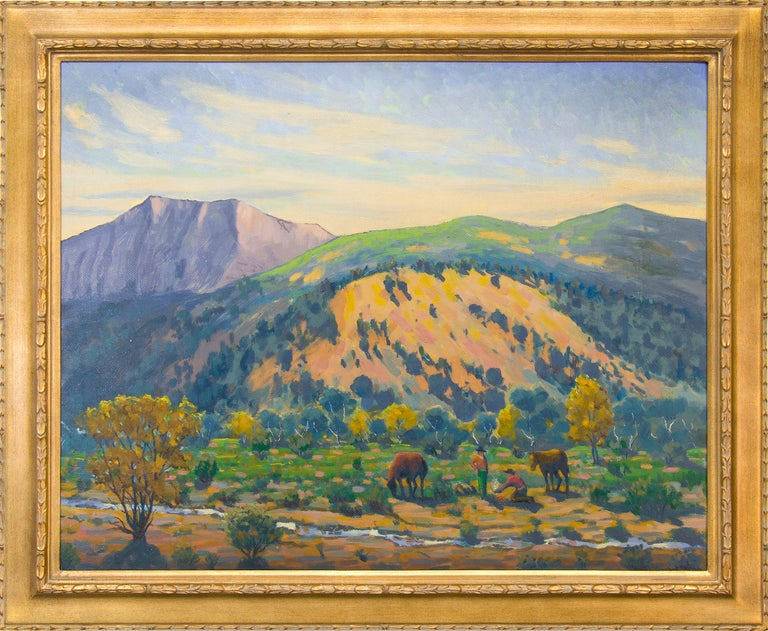 Harold Vincent Skene Landscape Painting - Creekside Camp (Southern Colorado Mountain Landscape)