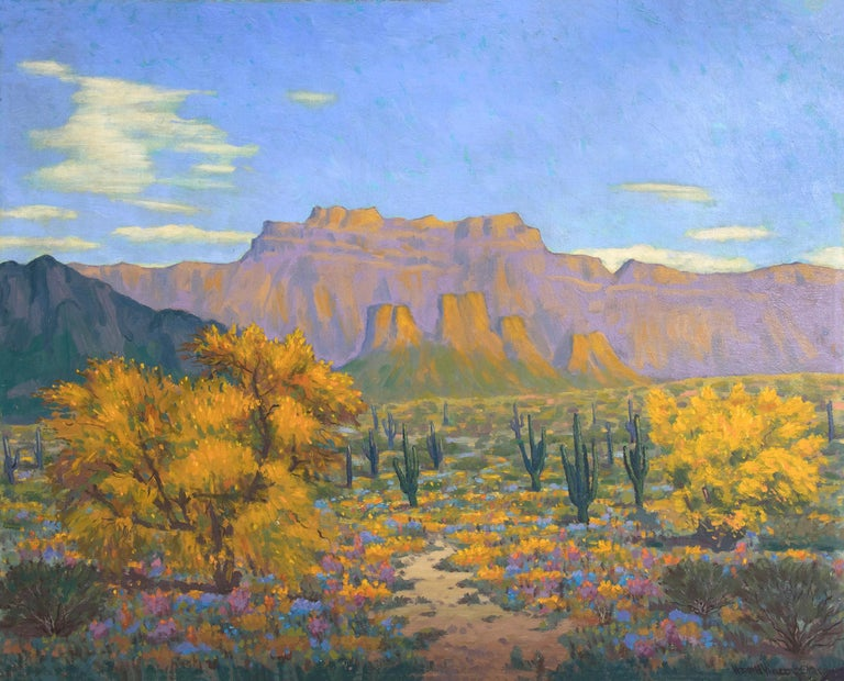 Desert Gold (Southwestern Landscape with Saguaro Cactus & Mountains in Autumn) - Painting by Harold Vincent Skene