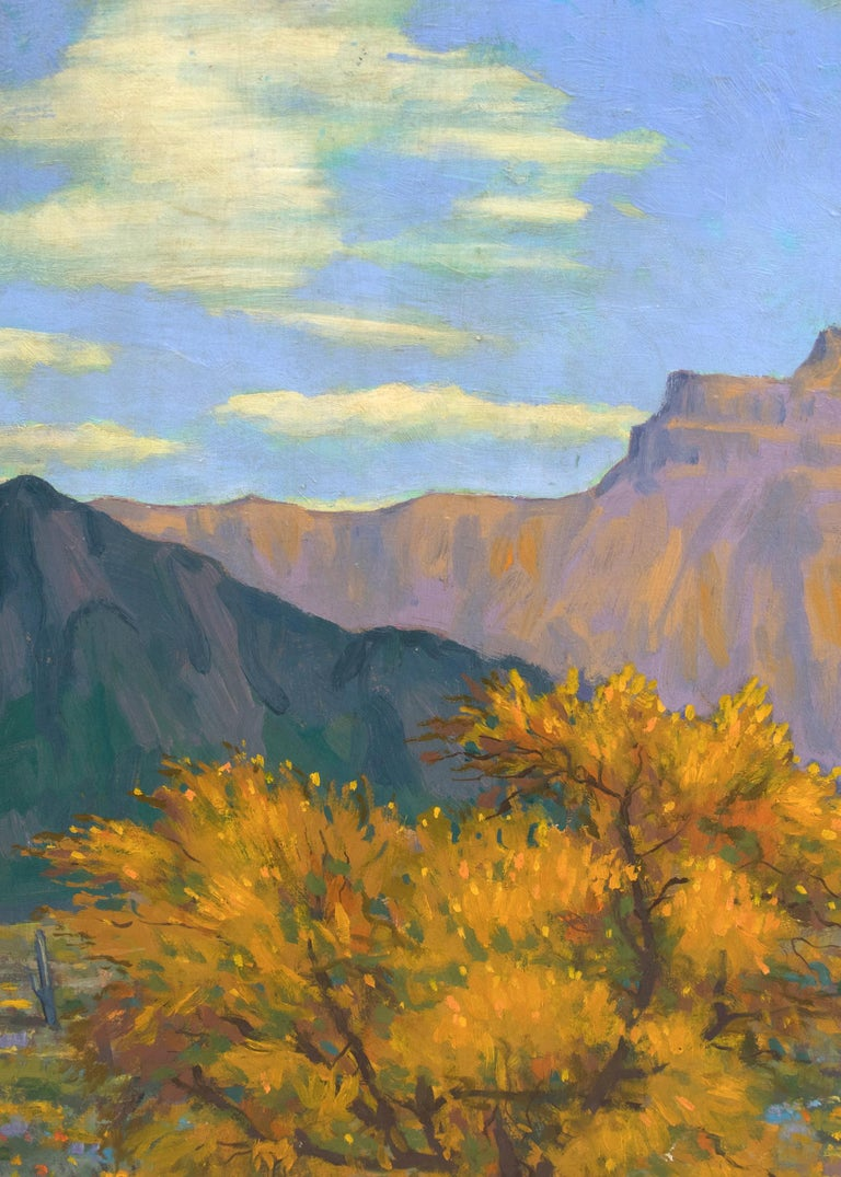 Desert Gold (Southwestern Landscape with Saguaro Cactus & Mountains in Autumn) For Sale 1