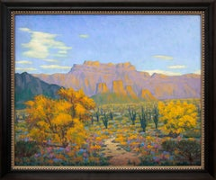 Desert Gold (Southwestern Landscape with Saguaro Cactus & Mountains in Autumn)