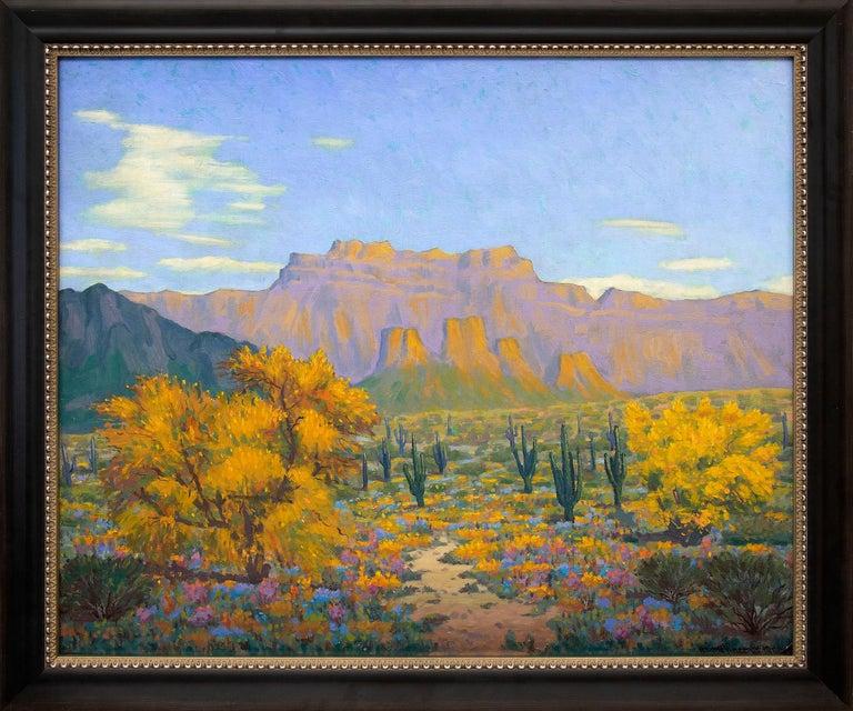 Harold Vincent Skene Landscape Painting - Desert Gold (Southwestern Landscape with Saguaro Cactus & Mountains in Autumn)