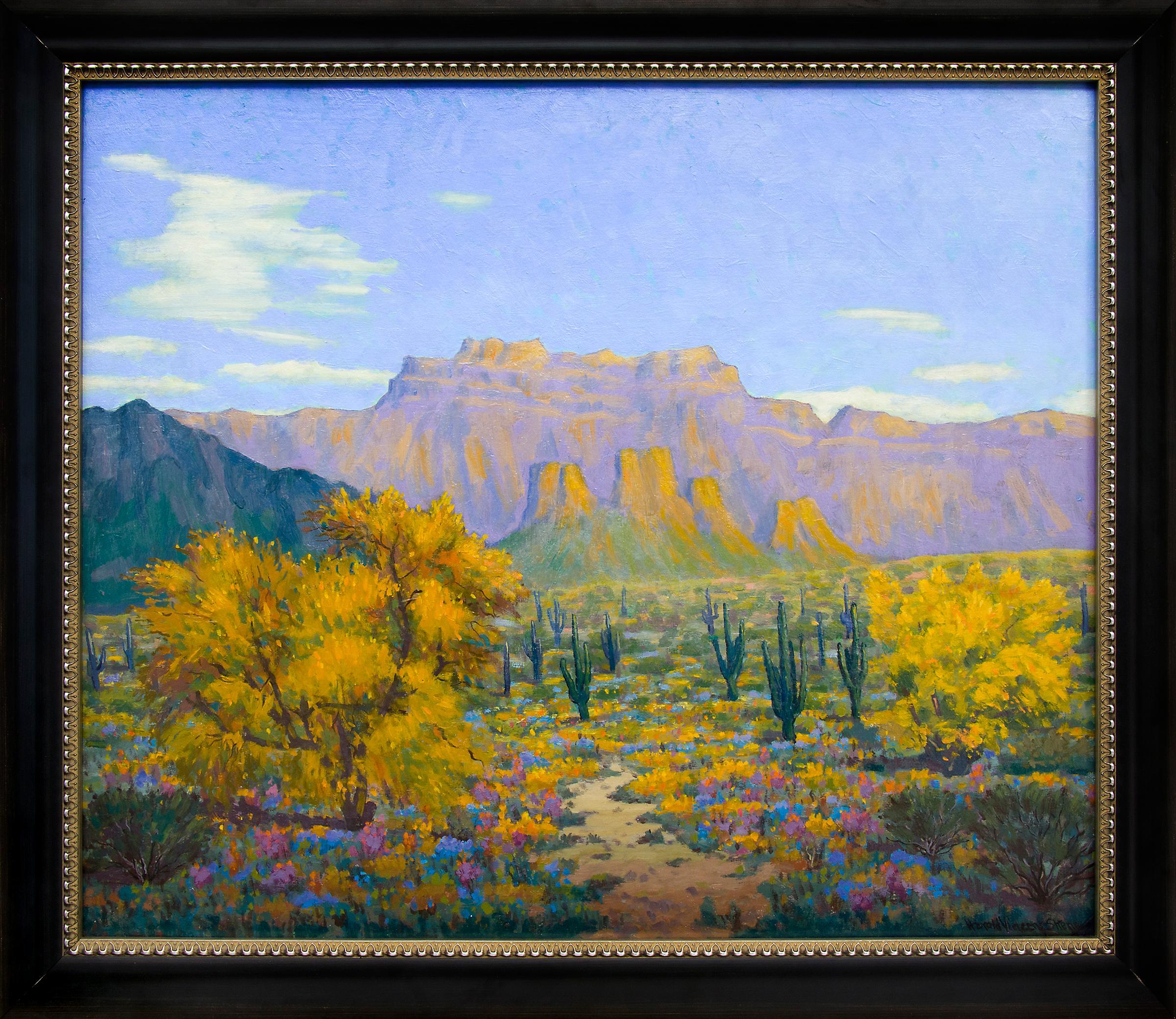 Desert Gold (Southwestern Landscape with Saguaro Cactus & Mountains in Autumn)