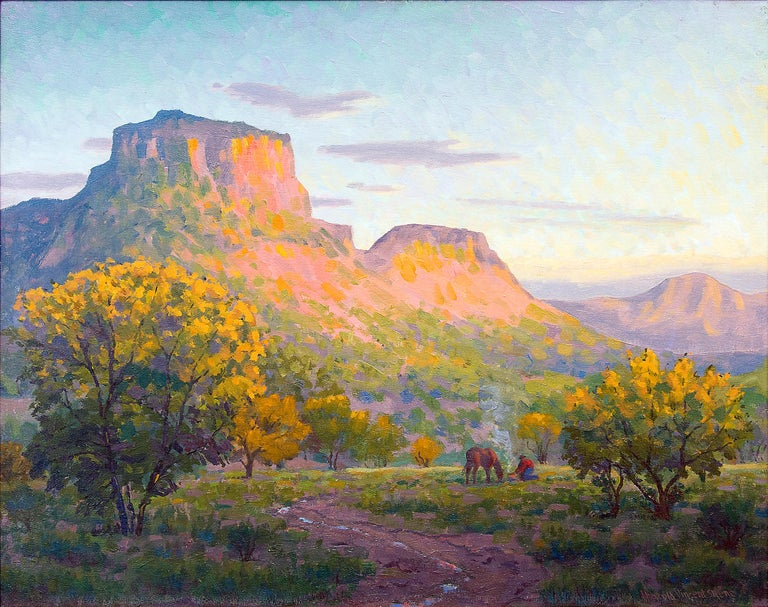 Glowing Mesa (Horses at Sunset, Colorado Landscape) - Painting by Harold Vincent Skene