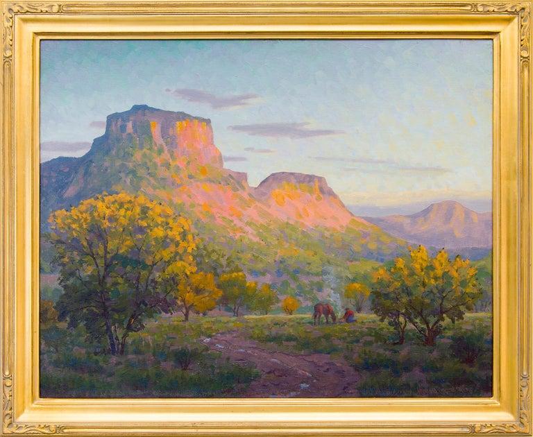 Harold Vincent Skene Landscape Painting - Glowing Mesa (Horses at Sunset, Colorado Landscape)