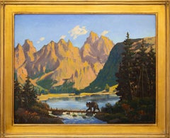 Little Bear (Traditional Landscape Painting with a Bear, Lake and Mountains)