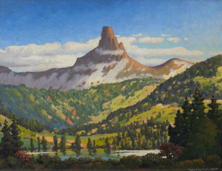 Lizard Head, Near Telluride, Colorado, Vintage Mountain Landscape, Lake & Trees - Painting by Harold Vincent Skene