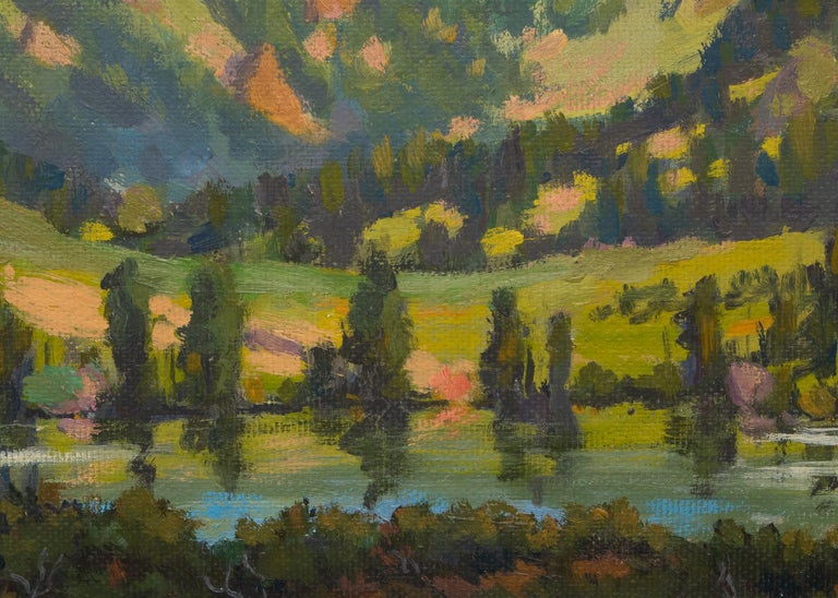 Lizard Head, Near Telluride, Colorado, Vintage Mountain Landscape, Lake & Trees - Gray Landscape Painting by Harold Vincent Skene