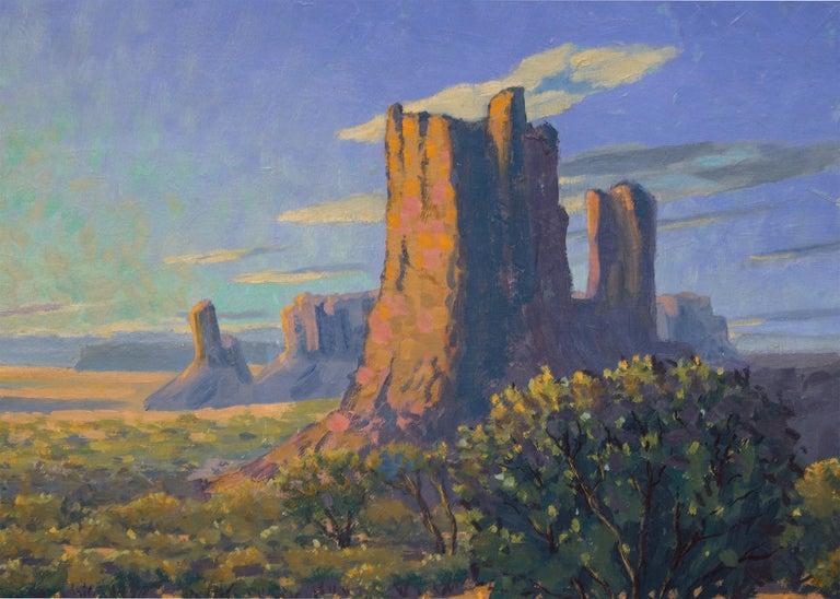 Monuments: Sunrise - Gray Landscape Painting by Harold Vincent Skene