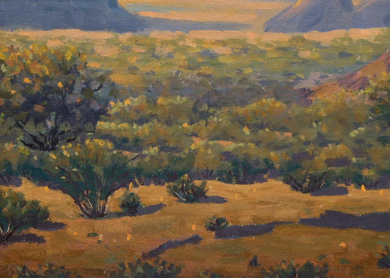 An original oil painting by Colorado artist, Harold Skene, featuring rock formations blanketed by the glow of sunrise in a traditional western mountain landscape. Presented in a custom frame, outer dimensions measure 28 ½ x 34 ½ x 1 ½ inches. Image
