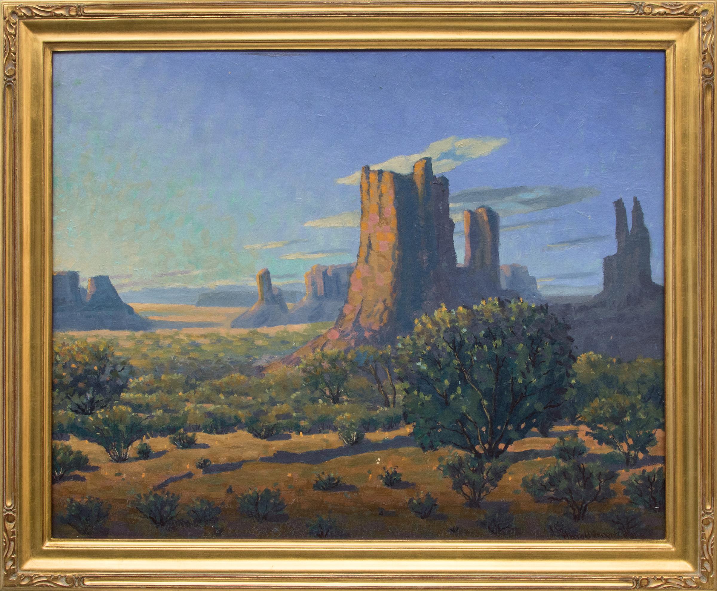Monuments: Sunrise (Traditional Desert Landscape Painting, Vintage 1950s)
