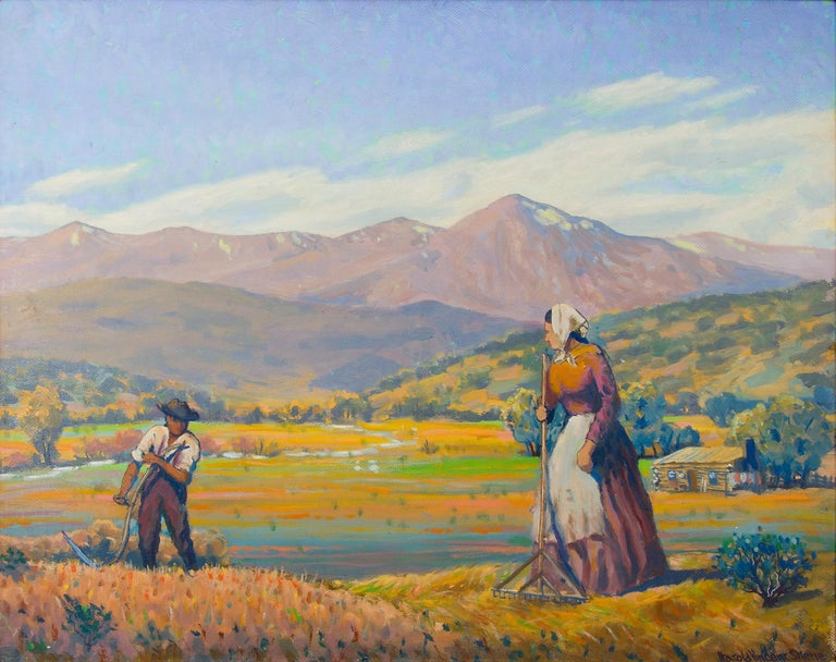 Reaping (Harvesting Wheat, Mountain Farm) Colorado Landscape Oil Painting - Beige Landscape Painting by Harold Vincent Skene