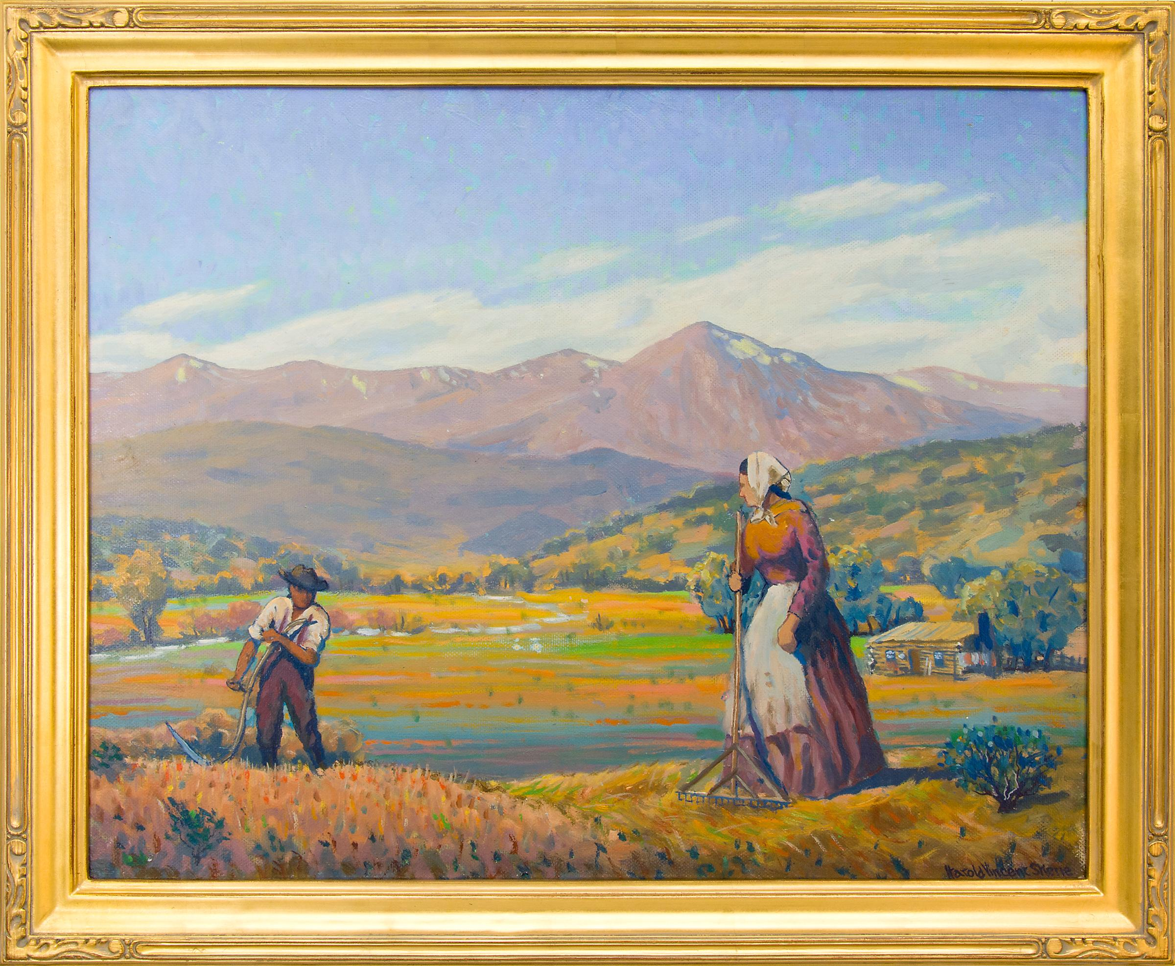 Reaping (Harvesting Wheat, Mountain Farm) Colorado Landscape Oil Painting