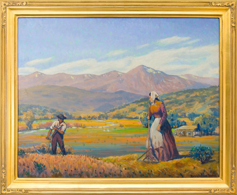 Harold Vincent Skene Landscape Painting - Reaping (Harvesting Wheat, Mountain Farm) Colorado Landscape Oil Painting