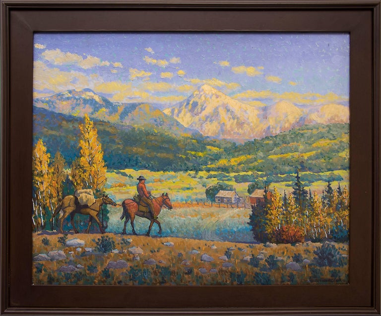 Harold Vincent Skene Landscape Painting - The Return (Horse and Rider in a Western Mountain Landscape, Autumn)
