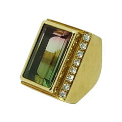 Haroldo Burle Marx 18 Karat Gold Bi-Colored Tourmaline and Diamond Ring