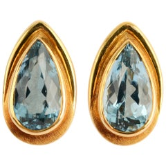 Haroldo Burle Marx Blue Topaz Gold Earrings