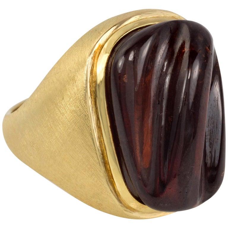 c. 1970 Haroldo Burle Marx Forma Livre Rubellite and Gold Ring