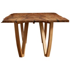 Harp Leg Table;  Book-matched live edge Scottish elm table by Jonathan Field.