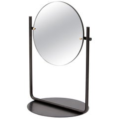 Harp Table Top Vanity Mirror in Blackened Steel and Brass by Steven Bukowski