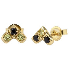 Harper Point Stud Earrings 14 Karat Yellow Gold with Yellow and Black Sapphires