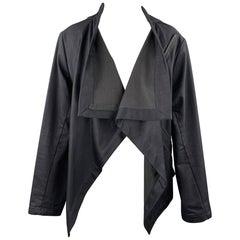 HARPUTS Size M Navy Cotton Asymmetrical SQUARE Jacket