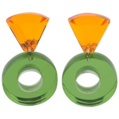 Harriet Bauknight for Kaso Dangle Donut Lucite Clip on Earrings Green & Orange