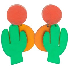 Harriet Bauknight for Kaso Orange Green Dangle Lucite Clip Earrings Cactus & Sun