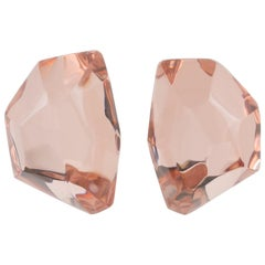 Harriet Bauknight for Kaso Oversized Pink Ice Cube Lucite Clip on Earrings