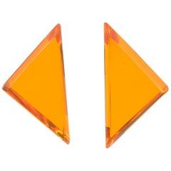 Harriet Bauknight for Kaso Oversized Triangle Neon Orange Lucite Clip Earrings