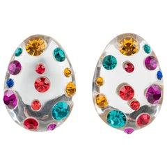 Harriet Bauknight for Kaso Silver Glitter Lucite Clip Earrings Multicolor Stones