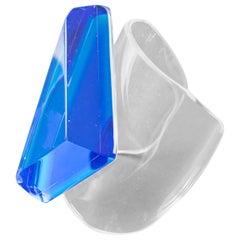 Harriet Bauknight Kaso Blue Lagoon Lucite Oversized Cuff Bracelet