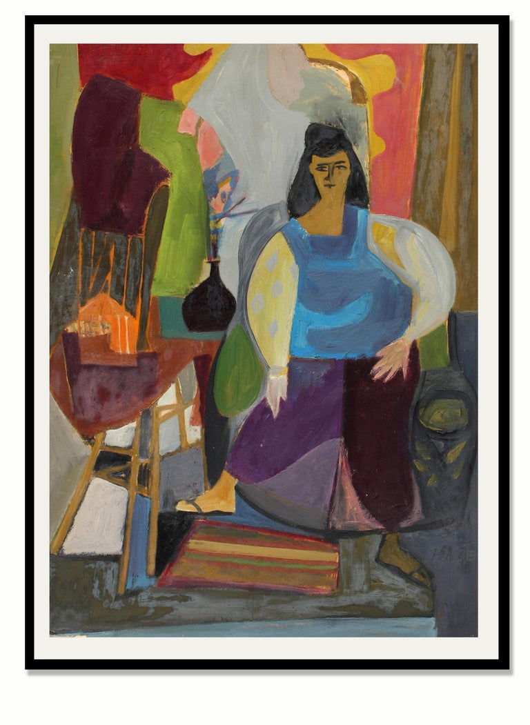 1940's Abstract Modernist Charming Figural Interior Portrait Painting New York - Black Figurative Painting by Harriet Holden Nash