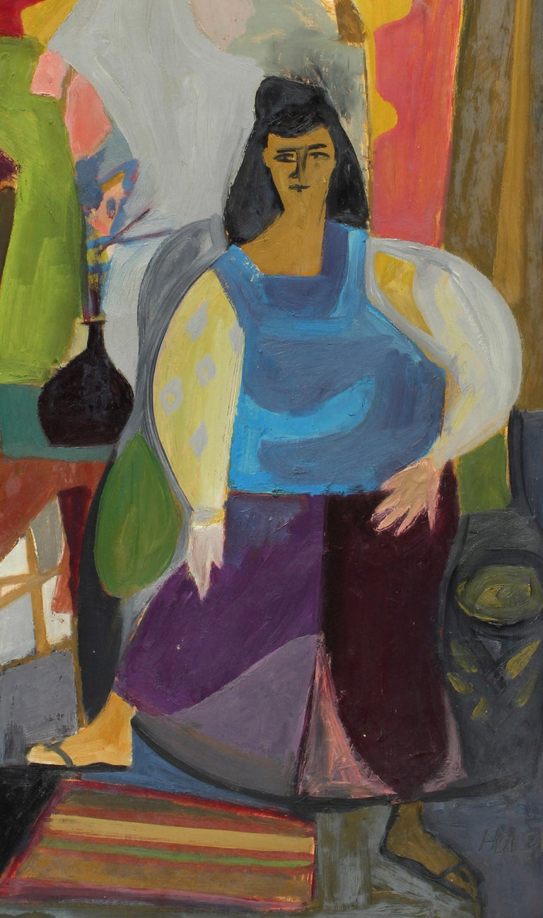 1940's Abstract Modernist Charming Figural Interior Portrait Painting New York For Sale 1