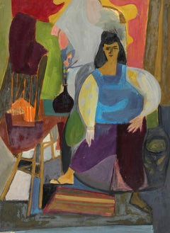 1940's Abstract Modernist Charming Figural Interior Portrait Painting New York