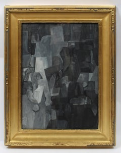 Harriet Holden Nash, Abstract Cubist Gouache Painting, 1950, Black White Framed