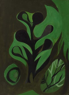 Harriet Nash, Gouache on board, Abstract Painting, Circa 1950, Green and Black